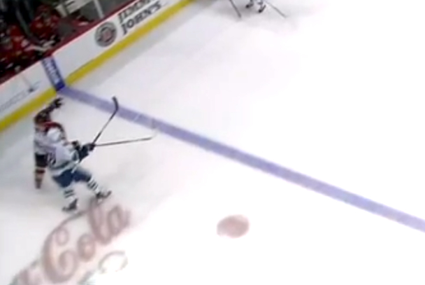 jannik hansen dirty elbow to the back of hossa's head