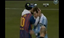 Lionel Messi Kissed by a Fan During Argentina-Sweden Friendly (Video)