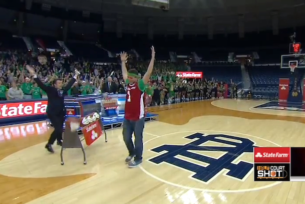 notre dame student wins $18,000 on half court shot on ESPN