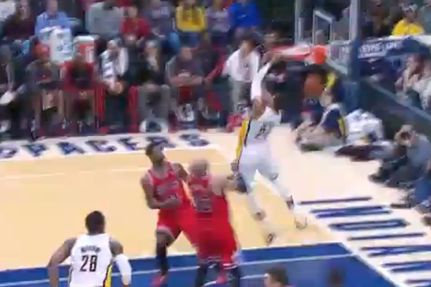 paul george reverse alley-oop dunk