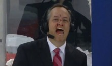 Rangers Rinkside Reporter John Giannone Takes a Puck to the Face, Keeps Reporting (Video)