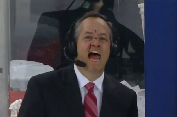 rangers rinkside reporter john giannone hit by puck