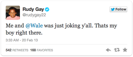 rudy gay wale tweet - raptors announcers