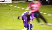 English Soccer Fan Storms Pitch and Attacks Goalie (Video)