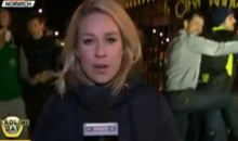 Two Soccer Fans Dry Hump Each Other on Live TV Behind Sky Sports Reporter (Video)