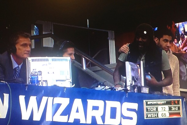 wale confronts raptors announcers