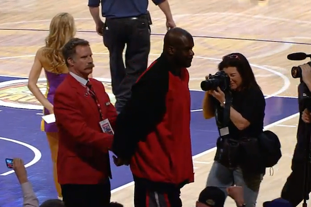 will ferrell security guard at staples center throws out shaq