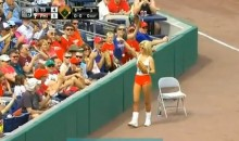 Hooters Ball Girl Picks Up Fair Ball, Gives it to a Fan (Video)