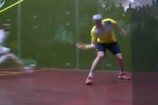 amazing squash trick shot