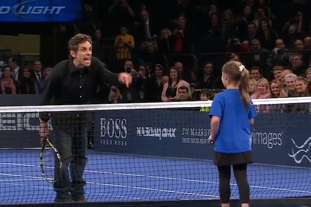 ben stiller plays tennis with little girl and rafael nadal
