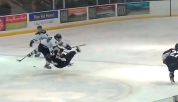 bone-crushing open ice check from high school hockey game