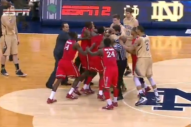 brawl notre dame st. johns college basketball
