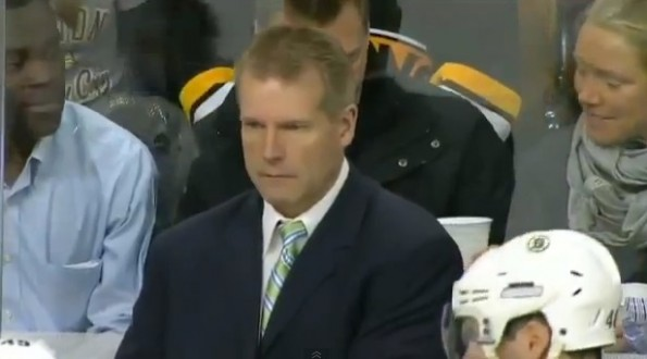 bruins coach geoff ward throw earpiece fan beer