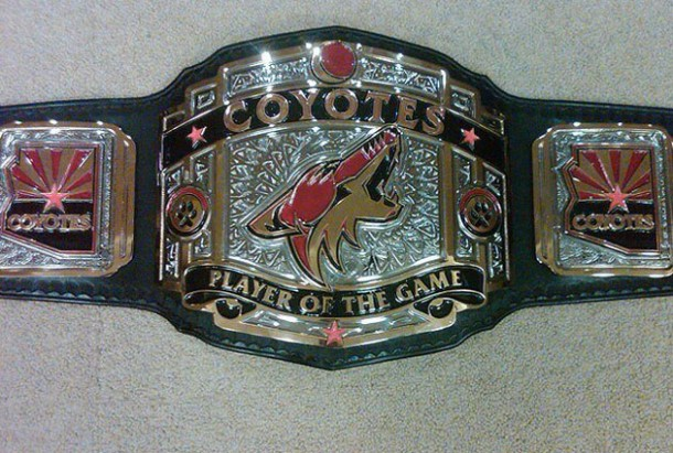 coyots player of the game championship belt