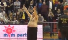Pot-Bellied Serbian Basketball Fan Really Knows How to Work the Crowd (Video)