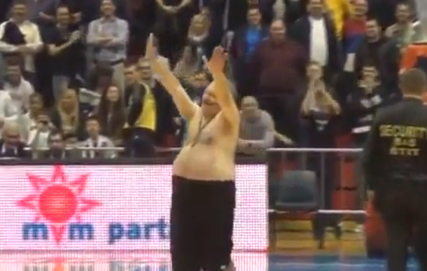 crazy fan at adriatic league basketball game