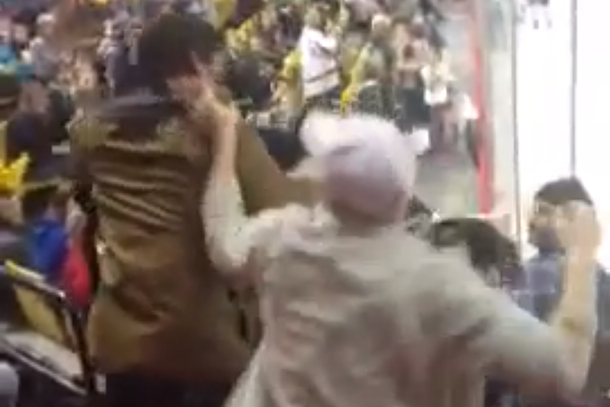 fan fight at alaska hockey game governor's cup