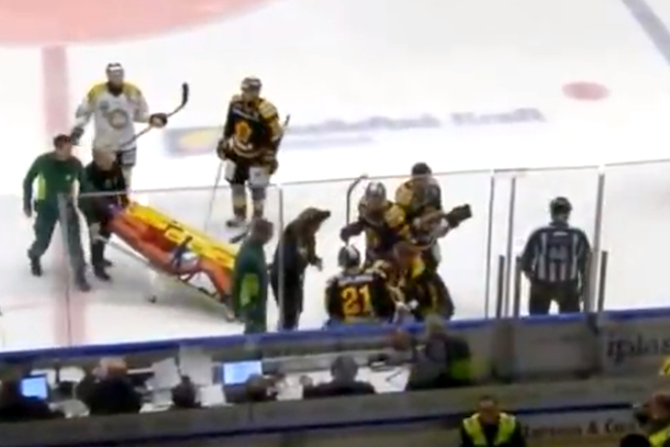 hockey headshot in sweden fractures skull
