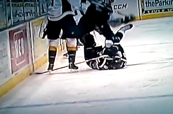 hockey player face slashed open by skate