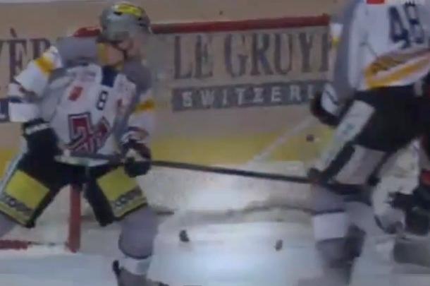 hockey puck breaks in half