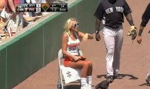 Phillies' Hooters Ball Girl Nearly Run Over by Yankees' Ronnier Mustelier (Video)