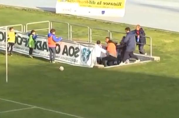 italian soccer coach attacks his own player