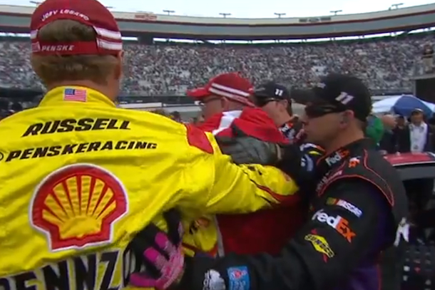 joey logan denny hamlin nascar fight
