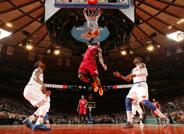 lebron james knicks heat dunk
