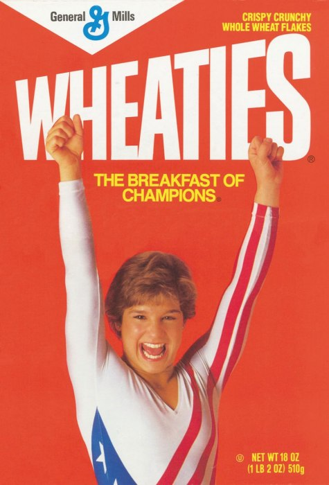 mary lou retton on wheaties box - female sports firsts