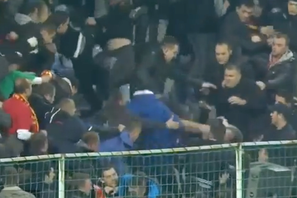 montenegro soccer fans brawl in stands before game against england