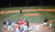 Baseball Pitcher Tackles Runner During Play at the Plate (Video)