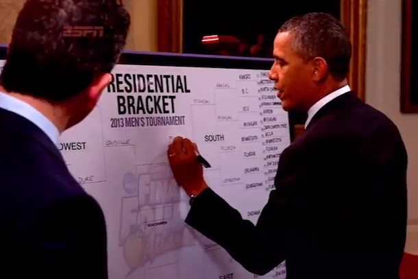 president barack obama fills out march madness bracket