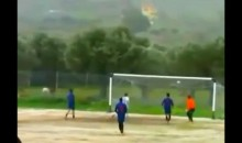 Greek Footballer Hits Four Posts With One Shot (Video)