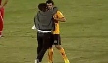 Syrian Soccer Fan Runs Onto Field to Hug Player Who Supports the Revolution (Video)