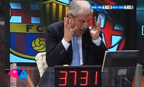 tiziano crudeli reacting to ac milan loss to barcelona