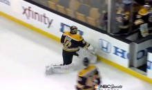 Tuukka Rask Tries to Smash Stick on the Boards After Loss to the Habs, Falls on His Butt (Video)