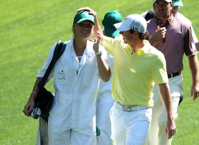 6 caroline wozniacki caddies for rory mcilroy 2013 masters par 3 contest
