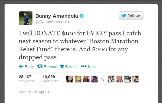 Danny Amendola Boston Marathon relief twitter