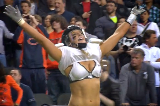 ashley salerno LFL quarterback huge hit