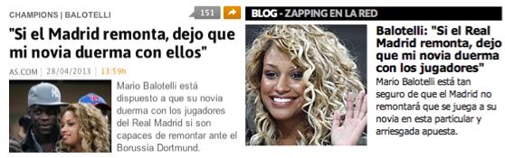 balotelli girlfriend wager real madrid champions league
