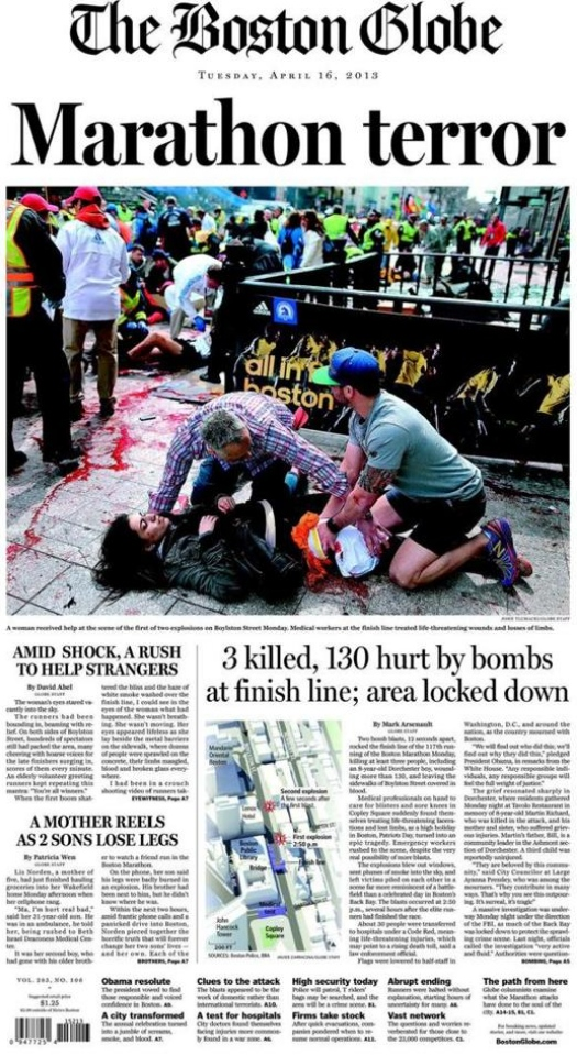 boston globe cover after bostom marathon bombings