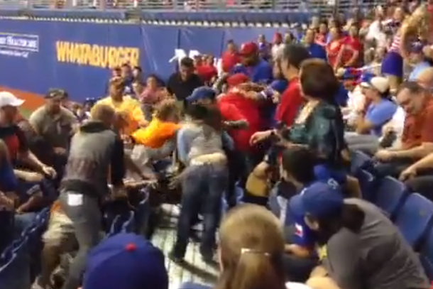brawl at preseason baseball game san antonio big league weekend