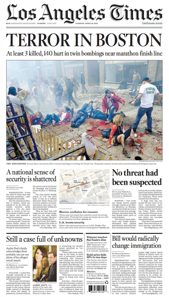 cover of la times (boston marathon bombing)