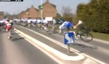 French Cyclist Yoann Offredo Crashes Into a Sign During Paris-Roubaix Race (Video)