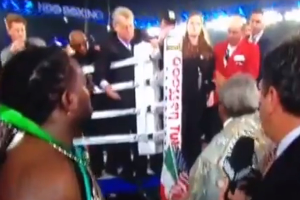 don king fights with somebody outside ring after bout
