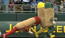 Giant Wiener Takes a Spill During Hot Dog Race on Opening Day at Kauffman Stadium (Video)