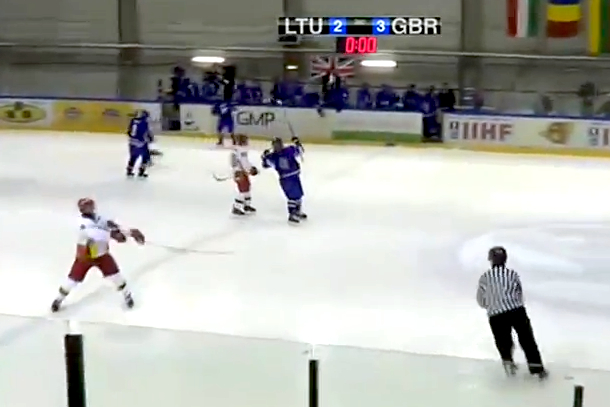 lithuanian u18 hockey player throws stick at referee