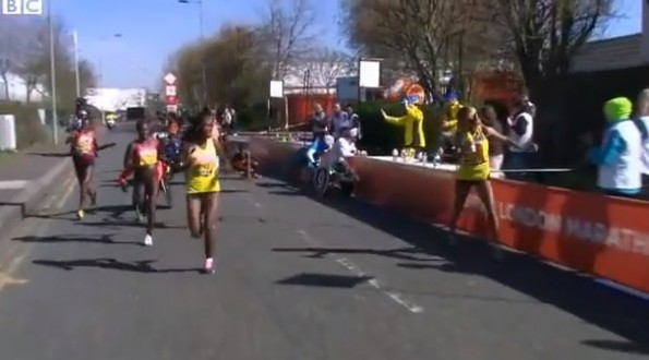 london marathon wheelchair crash