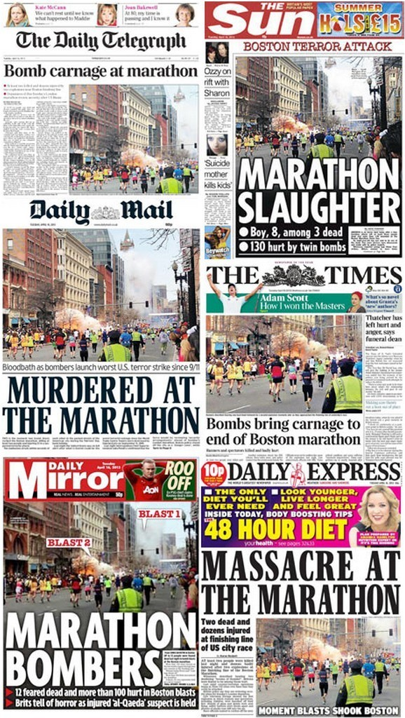 newspaper front pages - boston marathon bombing (the telegraph)