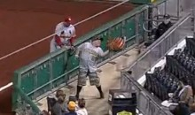 Watch this Pirates Fan Catch a Foul Ball in His Oversized Novelty Baseball Glove (Video)
